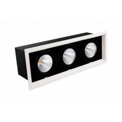 Boitier encastrables LED COB x2 Orientable 40W 4000k 3000lm blanc/noir