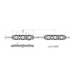 Module LED 3 LENTIILE  1.5W 12V x 20pcs