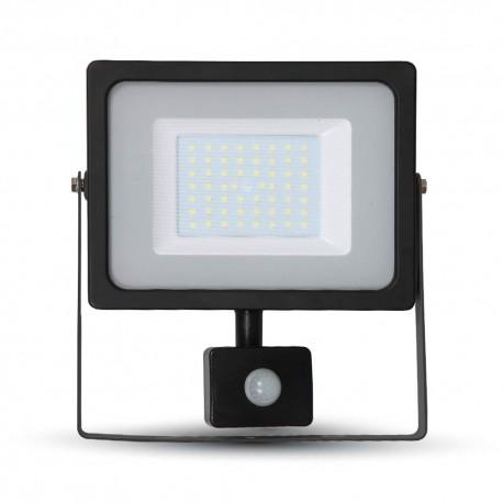 V-TAC Projecteur LED 50W 6400K 4250LM IP44 noir avec détecteur